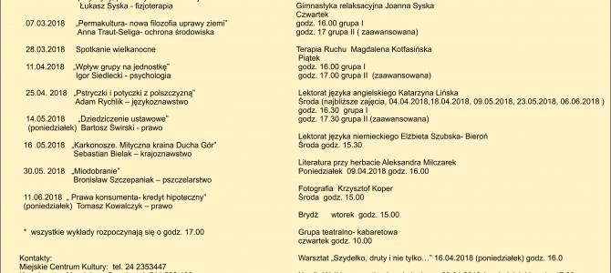 PLAN WYKŁADÓW NA II SEMESTR 2017/2018
